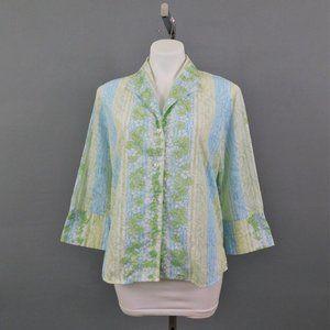 Allison Morgan Women Shirt Blue Green L